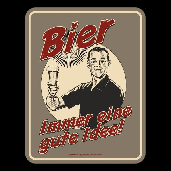 """Blechschild """"Bier – immer eine gute Idee"""""""