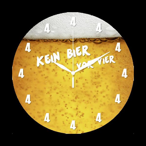 """Wanduhr """"Kein Bier vor 4"""""""