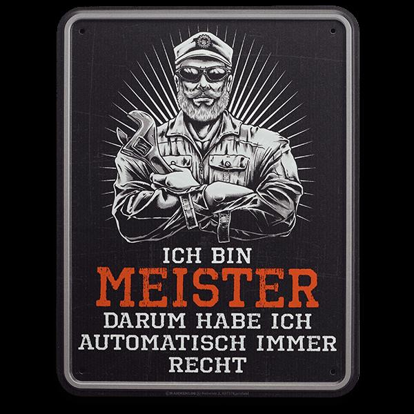 """Blechschild """"Ich bin Meister"""""""