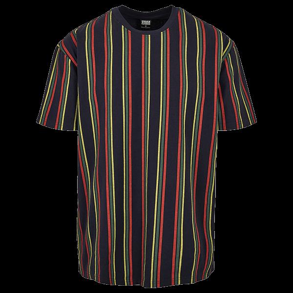 "Oversized T-Shirt ""Stripes"" von Urban Classics midnightnavy/burnedred 5XL"